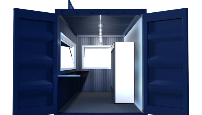 Street Food Container Visualization Side Door Frontal Night
