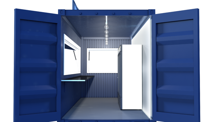 Street Food Container Visualization Side Door Frontal
